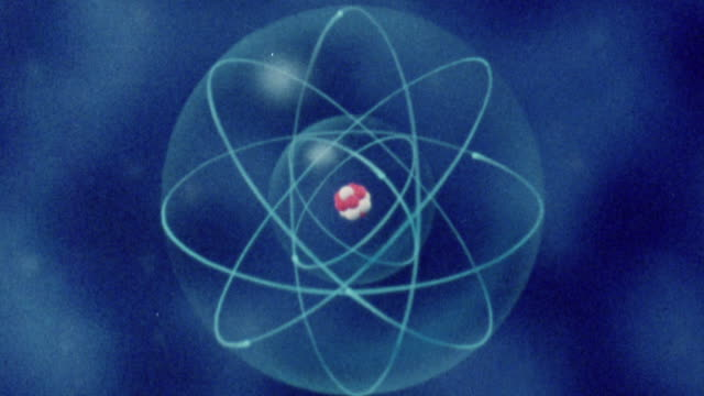 1983 zo moving graphic of interacting atoms and electrons / united kingdom - radiation stock videos & royalty-free footage