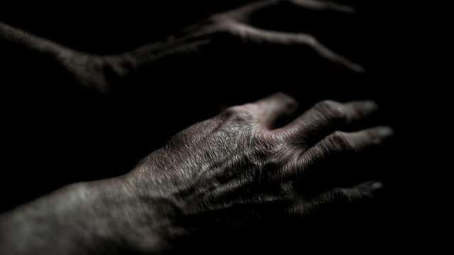HD Moving hands of a mature man close-up