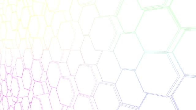 vídeos de stock, filmes e b-roll de teste padrão movente do hexágono para um fundo da composição do projeto do movimento. - hexágono