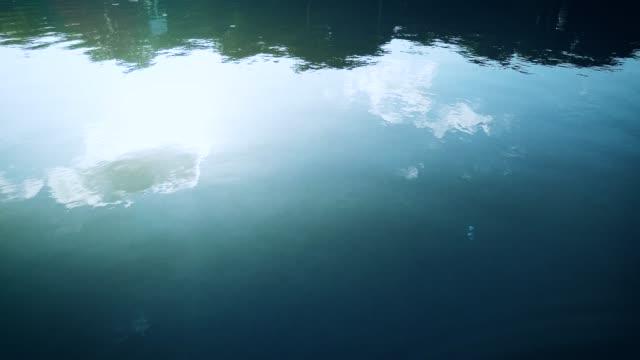 vidéos et rushes de déplacement de l'eau du lac émettant des vagues et reflétant le ciel bleu et les nuages - interactivité
