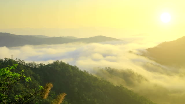 stockvideo's en b-roll-footage met moving mist over mountains at sunrise - aangelegd