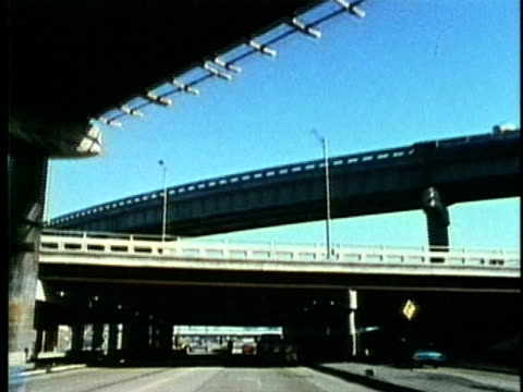vídeos de stock, filmes e b-roll de pov, montage, moving on detroit highways, 1960's, michigan, usa - 1960 1969