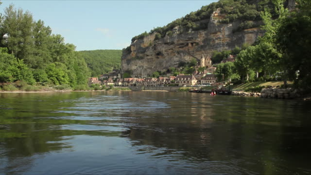 POV Moving on Dordogne River towards La Roque-Gageac / Aquitaine, France