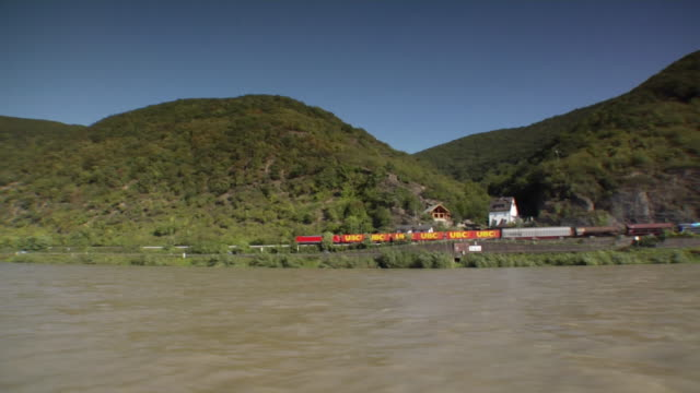 side pov, moving on river rhine, germany - 2006 stock videos & royalty-free footage