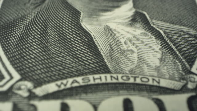 moving over 1 dollar usd bill up close - george washington stock videos and b-roll footage