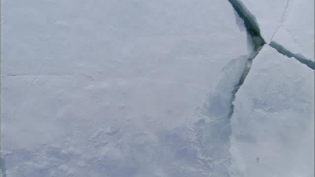 POV, Moving over breaking ice, Russia