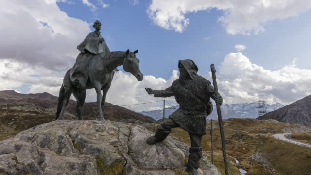vidéos et rushes de moving parallax timelapse of gotthard statues on the gotthard pass in switzerland - alpes suisses