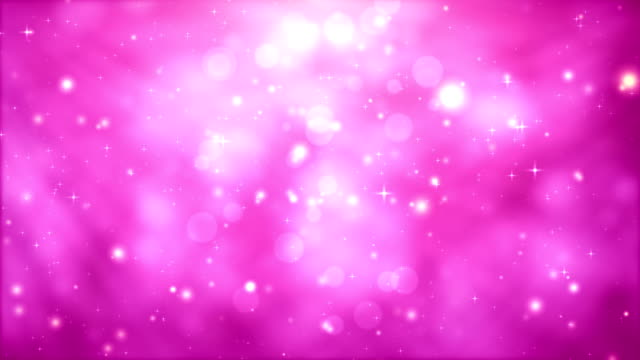 vídeos de stock e filmes b-roll de moving particles loop - pink glittering in light rays - pink color