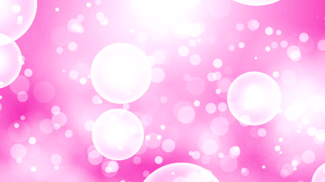 Moving Particles Loop - White bubble in Pink color