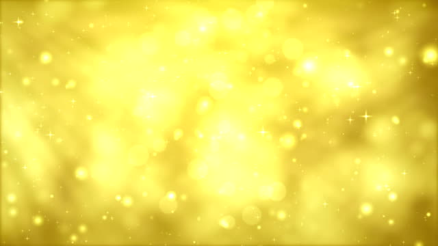 Moving Particles Loop - Yellow Glittering in light rays