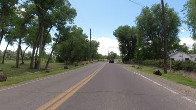moving process plate of a vehicle driving along a treelined road in a rural residential district of a town under a partly cloudy sky - treelined stock videos & royalty-free footage