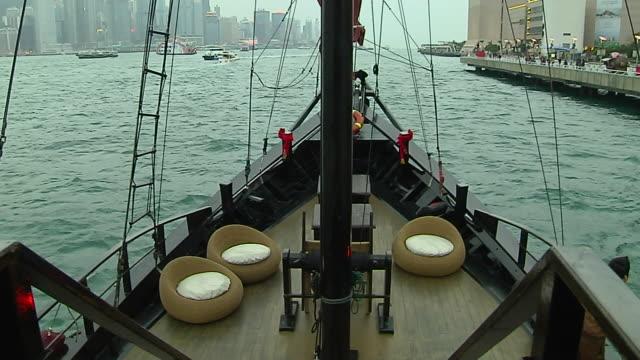 moving shot ferry in aberdeen harbour hong kong kwangtung china - aberdeen hong kong stock videos & royalty-free footage