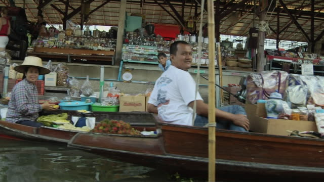 Moving Shot Floating Market Bangkok Thailand