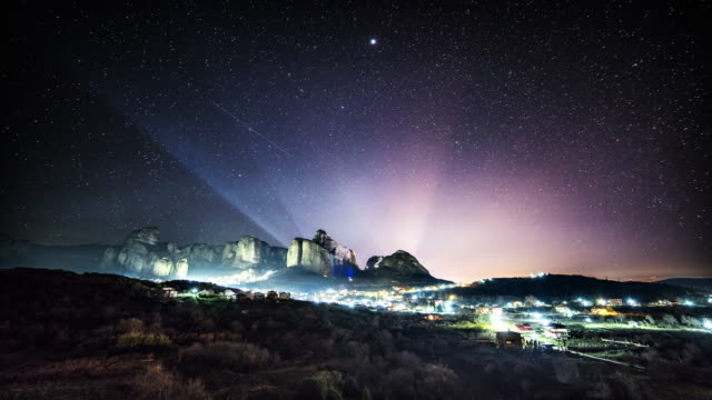 Moving stars over Meteora