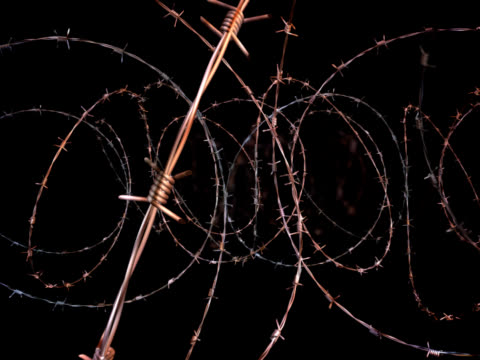 moving through barbed wire - loopable, alpha matte, ntsc - deportation stock videos and b-roll footage