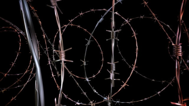 moving through barbed wire - loopable, panoramic, alpha matte, hd - barbed wire stock videos & royalty-free footage