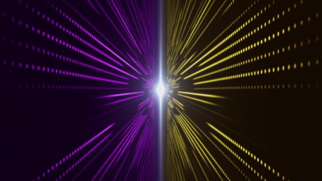 vídeos de stock, filmes e b-roll de movendo-se através do servidor de data center abstrato violeta e amarelo com padrão de grade led - part of a series