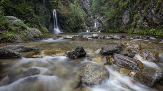 moving timelapse of a small waterfall and stream - ticino canton stock videos and b-roll footage