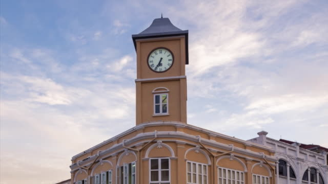 Moving time-lapse old building sino-Portuguese style landmark of phuket in night time