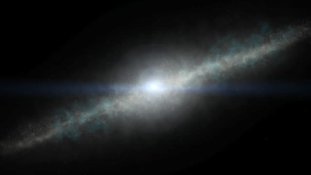 Moving toward a galaxy bisected by a blue line