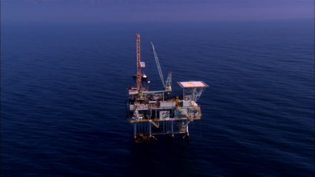 aerial moving toward oil rig/ oh rig/ santa barbara, california  - oil rig boat stock videos & royalty-free footage