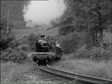 MS Moving train with passengers in open air carts and children looking at engine / The Lake District, Cumbria, England