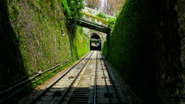 Moving Up on Funicular to Bergamo Old City, Lombardy, Italy