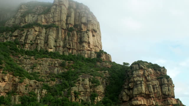 Moving Up Through Mist to Montserrat Mountain by Cable Car, Catalonia, Spain