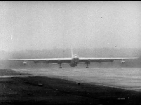 Passing parked Convair B36 'Peacemaker' strategic bomber Angled WS B36 talking off passing FG WS Ascending overcast sky retracting landing gear...