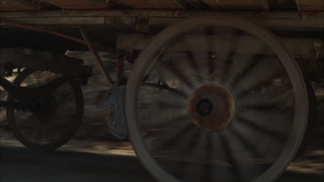 cu ts moving wagon wheels - cart stock videos & royalty-free footage