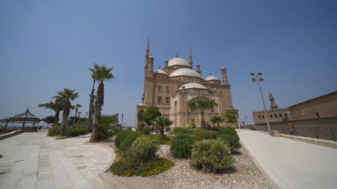 moving wide angle shot of a mosque in cairo - egypt stock videos & royalty-free footage