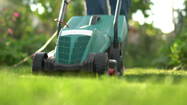 mowing the lawn - prato rasato video stock e b–roll