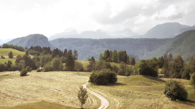 vídeos y material grabado en eventos de stock de antena mown meadows creación de una pintoresca vista al campo - carretera de campo