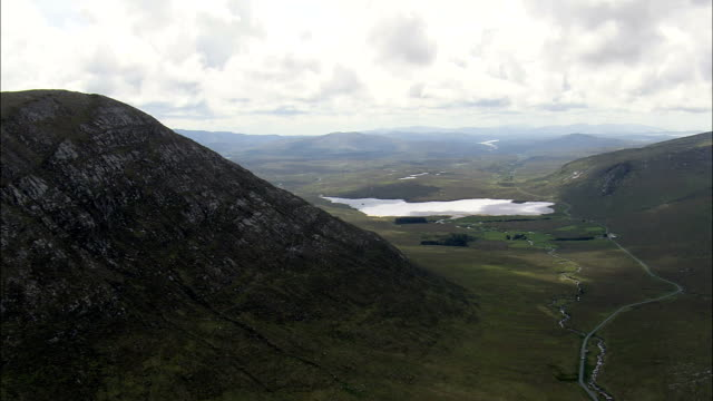 Moylenanav Mountain To River Gweebarra  - Aerial View - Ulster, Donegal, Ireland