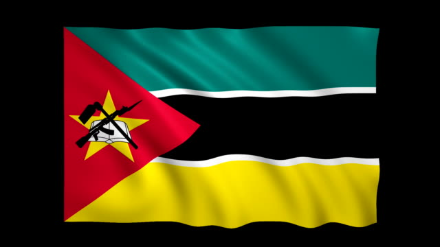 mozambique flag loopable alpha included - stock video - flag stock videos & royalty-free footage