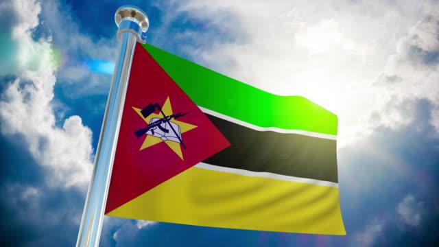 stockvideo's en b-roll-footage met 4k-vlag van mozambique   loop bare stock video - paalzitten
