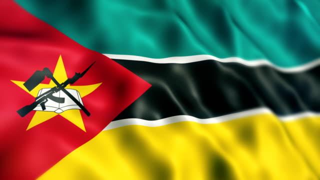 vídeos de stock e filmes b-roll de mozambique flag - moçambique