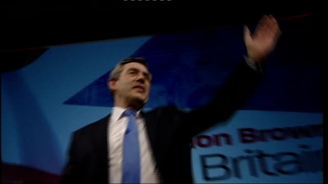 mps approve 42 day terror suspect detention plans lib bridgewater hall gordon brown waving on stage at labour party conference - bridgewater hall stock videos & royalty-free footage