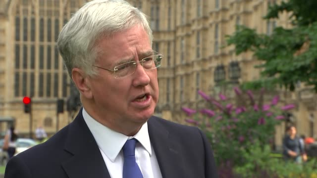 london westminster ext michael fallon mp interview sot it's up to labour to decide but at the election last year they were in favour of a nuclear... - member of parliament stock videos & royalty-free footage