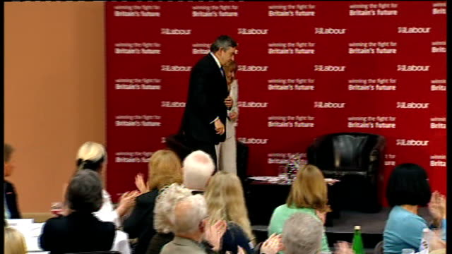 MPs' expenses row Morley and Mackay first two casualties Derbyshire Ilkeston INT Gordon Brown MP along on stage at launch of Labour's campaign for...