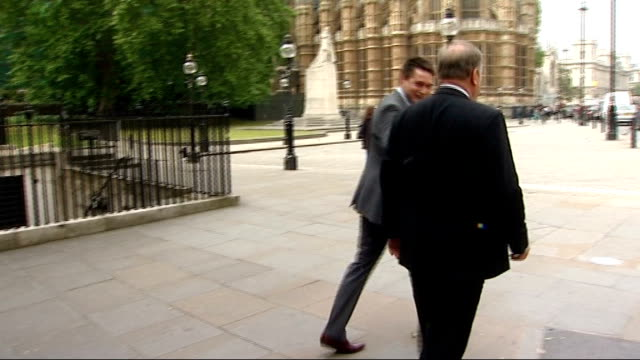 mps' expenses row morley and mackay first two casualties london westminster ext nick brown mp walking with colleague pan nick brown mp interview sot... - itv news at ten stock videos & royalty-free footage