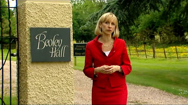 mps' expenses scandal: julie kirkbride and margaret moran to step down; west midlands: near bromsgrove: beoley hall: ext reporter to camera - mp stock videos & royalty-free footage