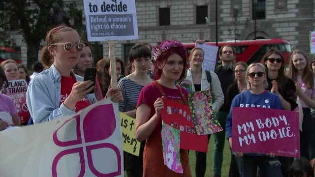 mps hold emergency debate on northern ireland abortion laws england london houses of parliament ext prochoice protesters with signs protesters with... - protestor stock videos & royalty-free footage