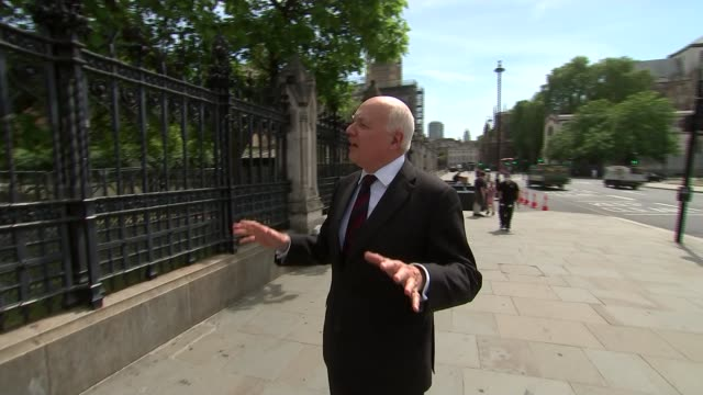 mps reject plan to continue remote voting england london westminster ext iain duncan smith mp interview as arriving at parliament sot - politics stock videos & royalty-free footage