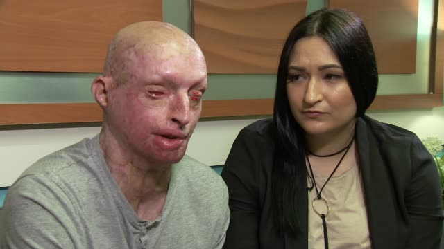 MPs to debate how to deal with rise in number of acid attacks Daniel Rotariu sitting with partner and interview SOT On justice