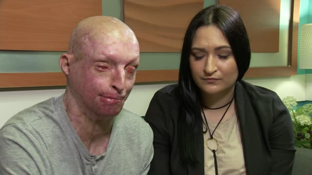 MPs to debate how to deal with rise in number of acid attacks ENGLAND INT Daniel Rotariu and partner sitting chatting with ITN Reporter Daniel...