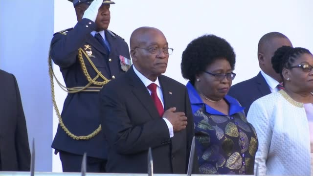 mps to vote anonymously on future of president jacob zuma; ext zuma standing with hand on heart as national anthem played sot zuma and others on... - hand on heart stock videos & royalty-free footage