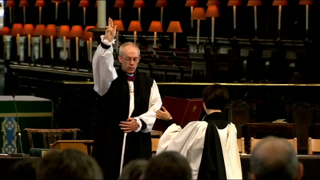 mps vote for gay marriage bill 4213 st paul's cathedral int rt rev justin welby carrying out blessing at his confirmation service sot - ジャスティン・ウェルビー点の映像素材/bロール
