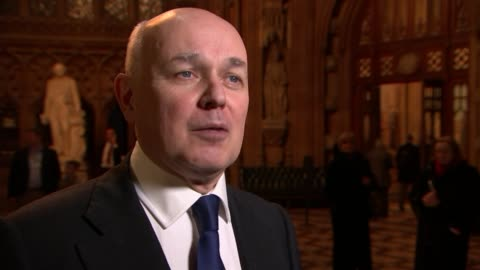 mps vote on brexit bill; mps vote on brexit bill; london: westminster: int chuka umunna mp interview sot iain duncan smith mp interview sot ext /... - smith tower stock-videos und b-roll-filmmaterial