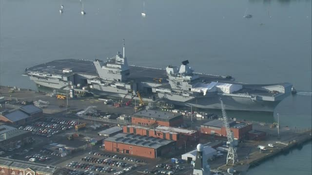 MPs warn cuts to the Royal Marines would undermine UK security R191217005 / Hampshire Portsmouth VIEWS / AERIALS of aircraft carrier HMS Queen...